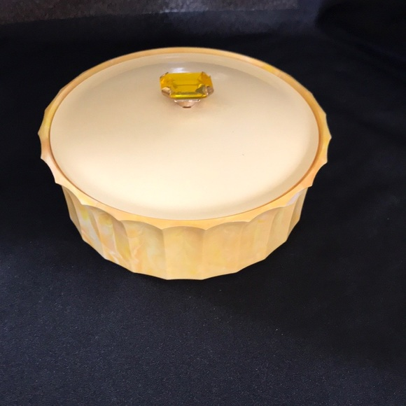 Vtg Yellow AVON Plastic Dusting Powder Container